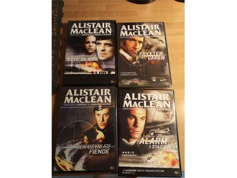 Alistair McLean, 4 dvd filmer i box, norskt omslag, Reg 2 svensk text.