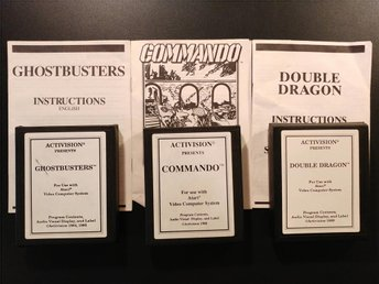 Commando + Double Dragon + Ghostbusters till Atari 2600 - med manualer!