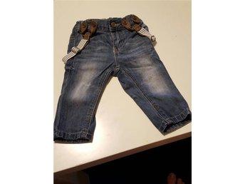 Jeans, hängselbyxor strl 62 - Skultuna - Jeans, hängselbyxor strl 62 - Skultuna