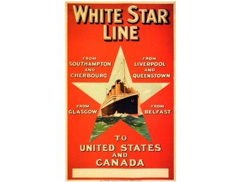 RMS TITANIC & RMS OLYMPIC White Line reklam marin affischer 2 x A2