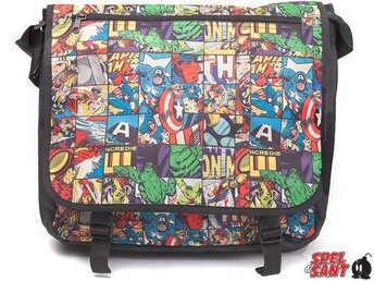 Marvel Comics All Over Comic Style Messenger Bag Svart