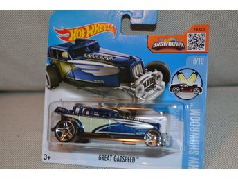 Great Gatspeed Hot Rod (Hot Wheels 2016) 1:64 HW Showroom Blå Stripes 6/10 Ny