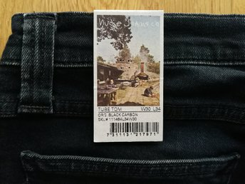 Nya Nudie Jeans Tube Tom Organic Black Carbon W30 L34 - Made in Italy