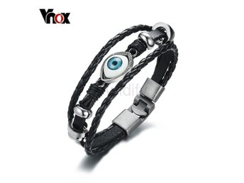 Armband Vnox Men's Black Leather Bracelet Default Title