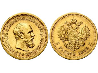 Ryska  5 Roubles 1889 double eagle imperial Guld