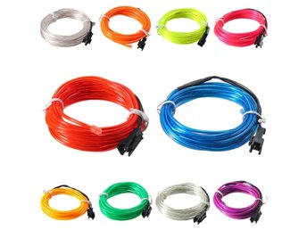 3M EL Led Flexible Soft Tube Wire Neon Glow Car Rope Stri...