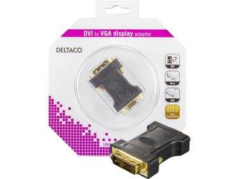 DELTACO DVI-adapter, analog DVI - analog VGA, ha - ho, guldpläterad - Höganäs - DELTACO DVI-adapter, analog DVI - analog VGA, ha - ho, guldpläterad - Höganäs