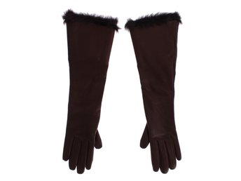 Dolce & Gabbana - Bordeaux Leather Fur Silk Lined Elbow Gloves