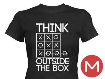 Think Outside The Box T-Shirt Tröja Rolig Tshirt med tryck Svart DAM M