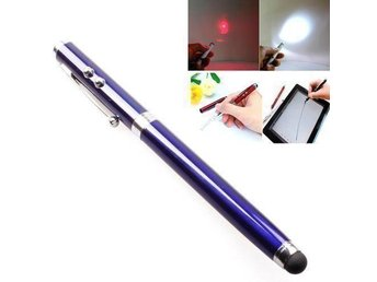 Stylus 4 in 1 touchpenna med laser, LED lampa & bläckpenna