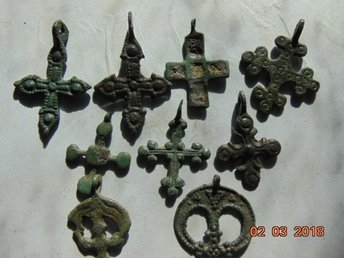 Viking Kievan Rus 9 crosses from bronze IX-XIII AGE