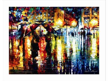 Evening Walk in the Rain Abstract Oil on Canvas Olja på Duk