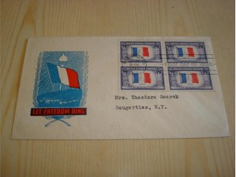 WWII France Let Freedom Ring 1943 USA förstadagsbrev