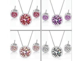2015 Hot New Fashion Party Zircon Round Pendant Ear Studs Earrings And Necklace