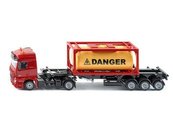 Mercedes Acros LKW m. Tank Container Farligt Lastbil 1:50 Siku 3922 Ny