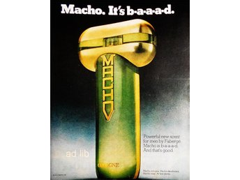 MACHO COLOGNE BY FARBEGÉ TIDNINGSANNONS Retro 1976