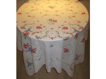 """Javascript är inaktiverat. - Rönninge - Vacker oanvänd sommarduk för ett stort bord. Ganska tunn duk i bomull/polyester. Vit med somrig """"fuskbrodyr"""" i blått, rött, grönt. 150x250 cm. Kan överlämnas i centrala Sthlm eller avhämtas i Rönninge om du vill slippa frakten. Vikt ( - Rönninge"""