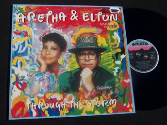 "ARETHA & ELTON - THROUGH THE STORM 12"" 1989 "" LOOKS NEW"""