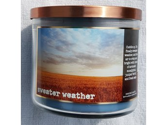 SWEATER WEATHER Bath & Body Works 3-wick Candle doftljus 3-veks doft USA