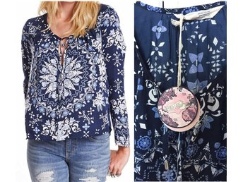 Ny 1295:- Odd Molly Knock Out Blouse blus topp tröja blå mönstrad dark blue 4 XL