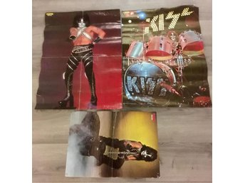 3 KISS POSTERS FROM THE SWEDISH 70´S MAGAZINE POSTER