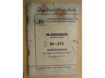IH AB International Harvester McCormick SC-275 Radsåmaskin 1956