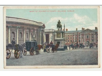 Vykort, Dublin, Bank of Ireland & Trinity College, oskrivet
