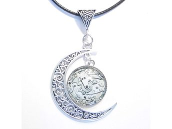 Kugghjul Steampunk måne halsband / Gears moon necklace