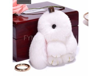 Fluffy Big Bunny Faux Rabbit Fur Nyckelring Keychain White Fri Frakt Ny