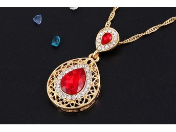 Women Evening Party Crystal Hollow Out Necklace Waterdrop Earrings Jewelry Set