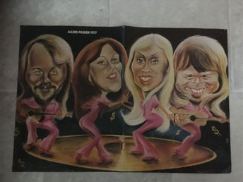 ABBA PLANSCH FRÅN 1977 / A ABBA PLATE FROM THE SWEDISH NEWSPAPER ALLAS FROM 1977
