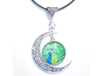 Påfågel måne halsband / Peacock moon necklace