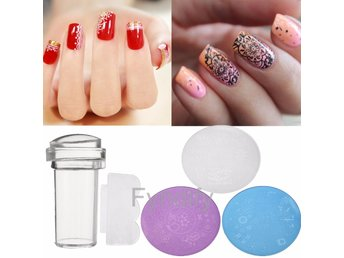 3Pcs/Set Nail Art Stamp Stencil Stamper Blå