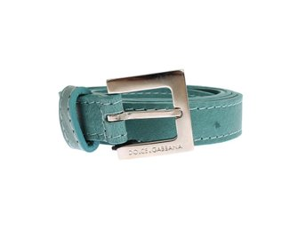 Dolce & Gabbana - Green Leather Silver Buckle Logo Belt