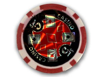 poker chips Casino laser $5 röd-50 st.