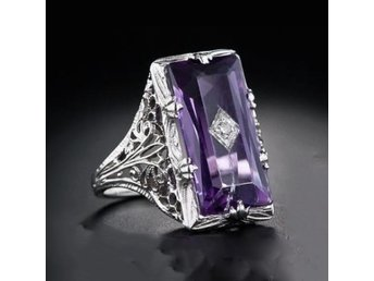 Classic Gorgeous Genuine Purple Crystal Ring R4044-8