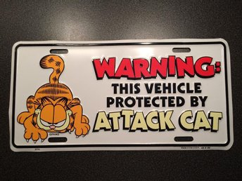 "Garfield / Gustaf skylt "" Warning: This vehicle protected by attack cat """