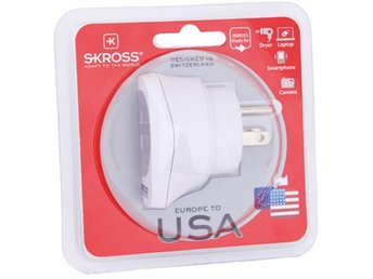 SKROSS Europe to USA, reseadapter, jordad, 110-125V, 15A, vit