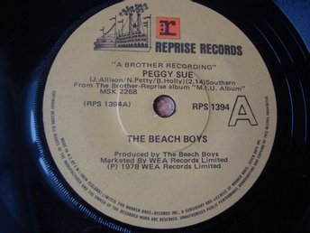 Beach Boys Singel Utgiven i Nya Zeeland Peggy Sue Reprise Records 1978