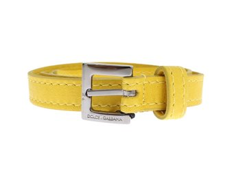 Dolce & Gabbana - Yellow Leather Silver Buckle Logo Belt