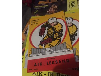 HOCKEY Matchprogram AIK v Leksands IF 15/1 1967 Johanneshov