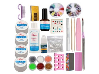 Pro Acrylic Glitter Nail Art Powder Glue File French UV Gel Tips Set