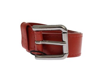 Dolce & Gabbana - Red Leather Silver Buckle Logo Belt
