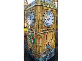 Churchill's Peter Pan Money Box 3D Big Ben Toffee Tin, plåtburk, sparbössa, box