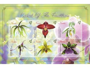 "Orkidéer Nevis ""Orchids of the caibbean"" 2 block"