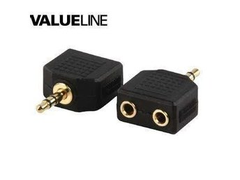 Adapter plug 3.5mm stereo plug to 2 x 3.5mm stereo socket (Gold)