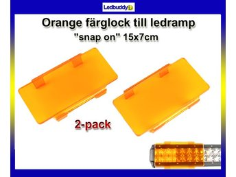 "Orange ""snap on"" färglock till ledramp 15x7cm 2-pack"