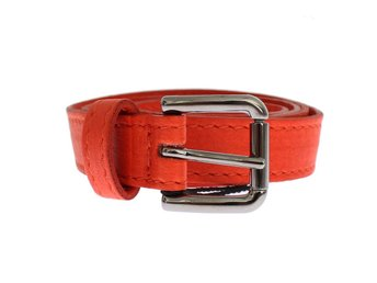 Dolce & Gabbana - Orange Leather Silver Buckle Logo Belt