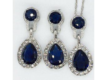 Concise Waterdrop Dark Blue Cubic Zircon Halo Pendant Necklace S1578