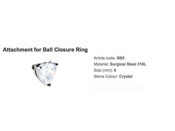Ny piercing hjärta closure ring swarovski diamant